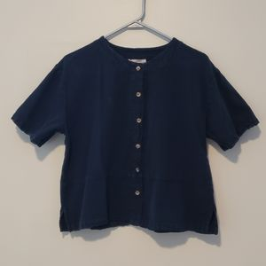 authentic cottonseed products navy boxy button up